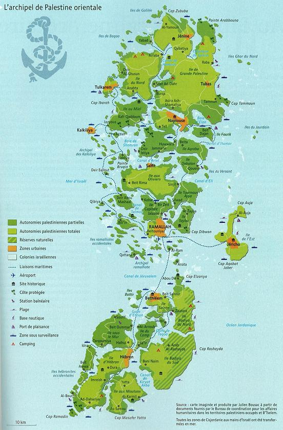 A map of the West Bank Palestinian territories re-imagined as an archipelo